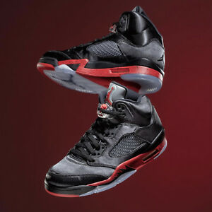 376a9d7a310eaf Nike Air Jordan 5 Retro V Satin Black University Red Bred Men Women ...