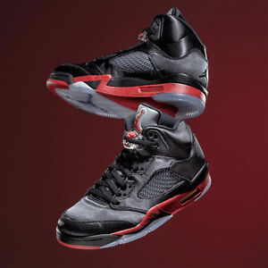 b0ee23ed72a4 Nike Air Jordan 5 Retro V Satin Black University Red Bred Men Women ...