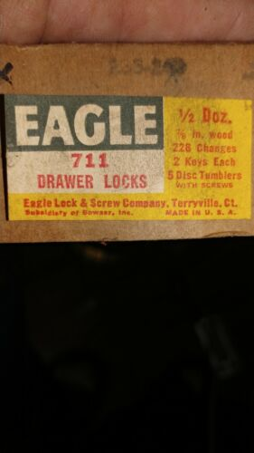 Box OF 6 EAGLE DRAWER LOCKS NO 711 AS SHOWN FOR 7//8 IN WOOD CHECK PHOTO PLEASE