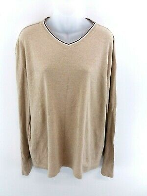 Brillant Tommy Hilfiger Mens Jumper Sweater L Large Brown Cotton
