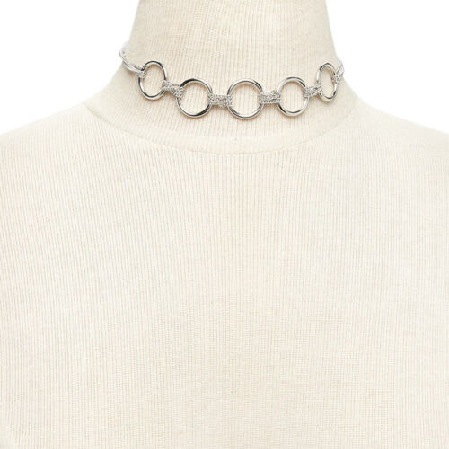 Women Girls Silver Choker Circle Link Alloy Collar Necklace Chocker Jewellery UK