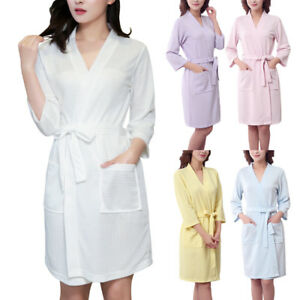 0393e1b374 Men Women Cotton Waffle Bath Robe Suck Sweat Kimono Bathrobe Summer  Nightgowns