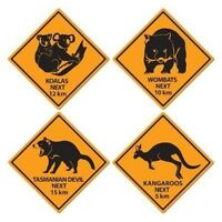 Outback Road Sign Cutouts Koalas Kangaroos Wombats Tasmanian Devil 4 Ct Party