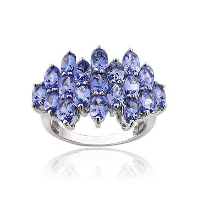 925 Silver 5.2ct Tanzanite Oval-Cut Cluster Ring