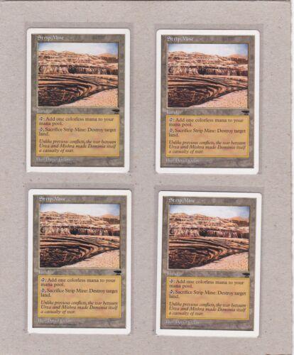 MTG - 4X Strip Mine X4 - Anthologies - Common 3 EX/NM & 1 VF+ - Playset