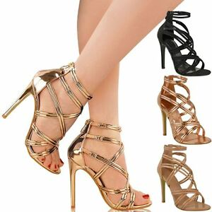 womens ladies rose gold strappy party sandals high heel