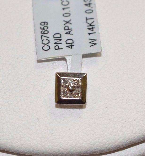 3752-14KT WHITE gold AND DIAMOND PENDANT .43GRAMS
