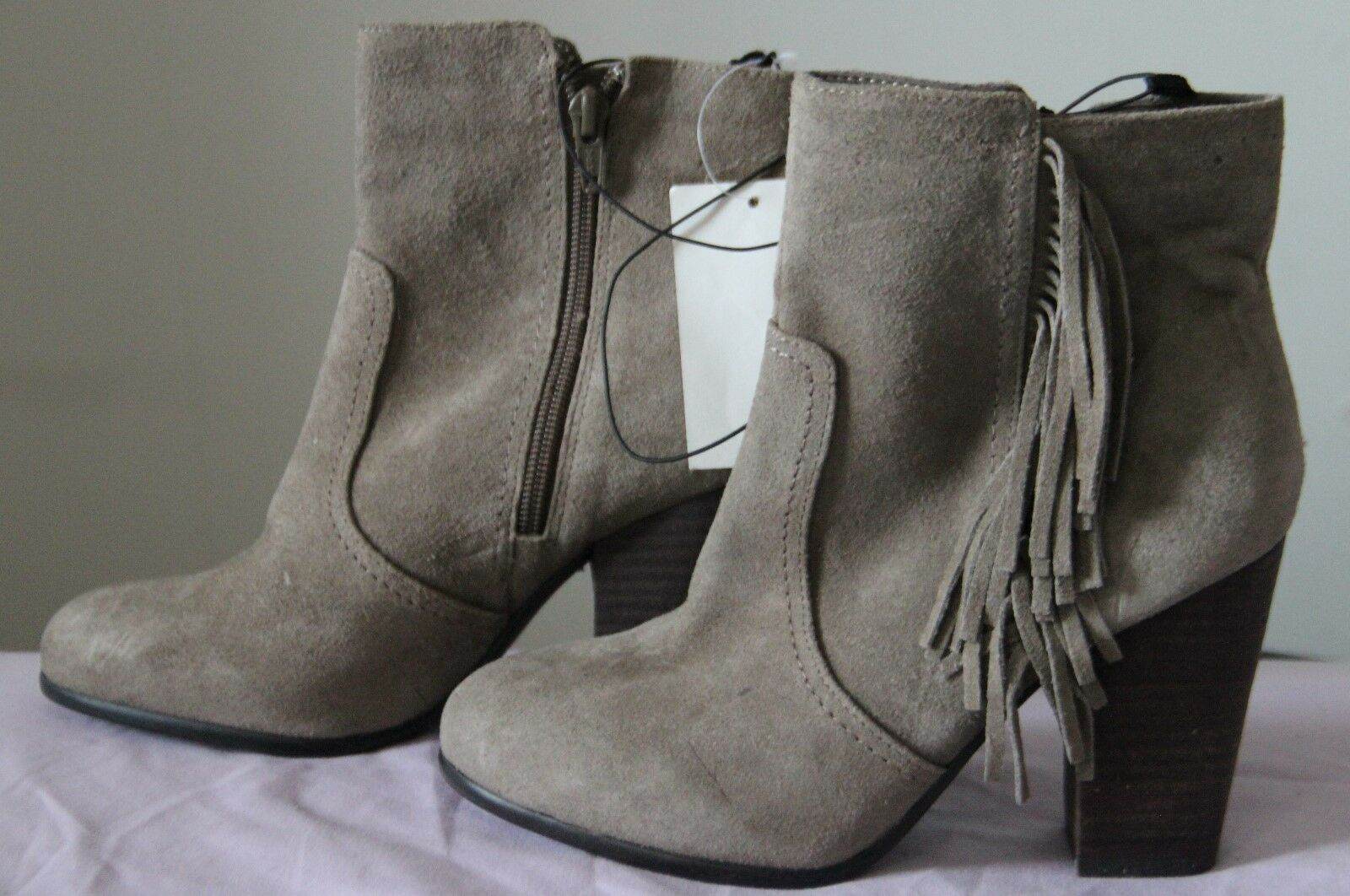 H&M Taupe Sz Suede Fringe Ankle Stiefel - Sz Taupe US 5.5/EUR36 (NWT) 24932a