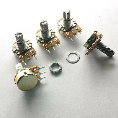 10PCS B50K Ω Linear Taper Rotary Potentiometer Panel Pot 15mm Shaft Nuts Washers