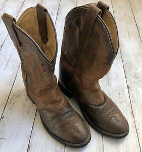 Tony-Lama-Youth-Girl-039-s-Boy-039-s-Brown-Leather-Cowboy-Boots-TX-703-Y-Size-3