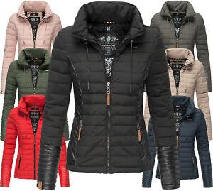 cheap for discount b251a 4089b Details zu Navahoo Premium Damen Herbst Winter Jacke Steppjacke Übergangs  Kunstleder NEU