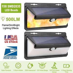 Solar-Flame-Lights-158-LEDs-Wall-Lamps-Motion-Sensor-Waterproof-Outdoor-Garden