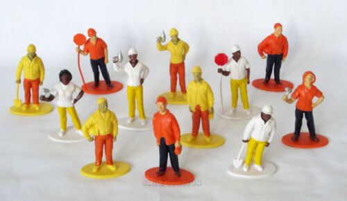 12 Construction Worker Figures Kid Party Goody Loot Bag Cake Topper Favor Supply
