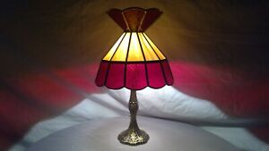 Vintage-Tiffany-Style-Red-Ripple-amp-Slag-Stained-Glass-Shade-Metal-Base-Lamp