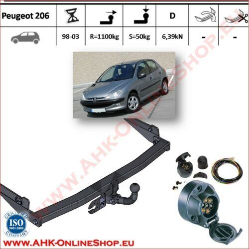 AHK ES7 Peugeot 206 Bj 1998-2003 Anhängevorrichtung Anhängerkupplung komplett