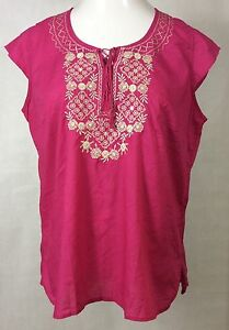 Womens-IZOD-Blouse-Size-L-100-Cotton-Pink-Embroidered-SS-Shirt