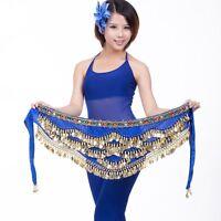 New Belly Dance Hip Scarf 328 Golden Coins Dancer Wrap Skirt Waist Belt Costume