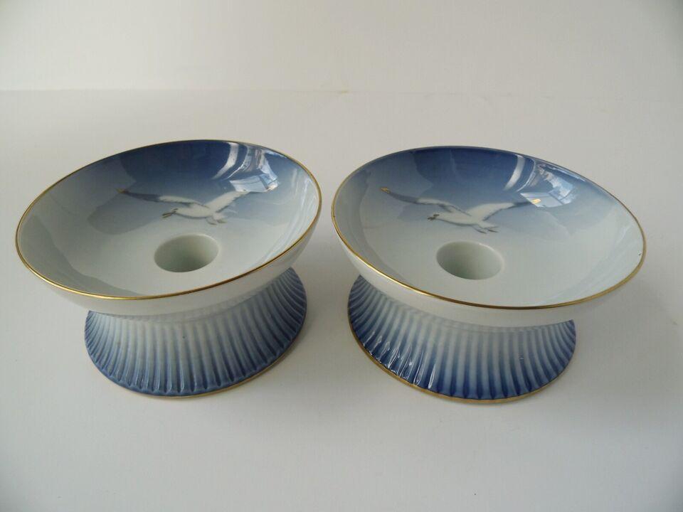Porcelæn, Måge med guld par lysestager, B&G
