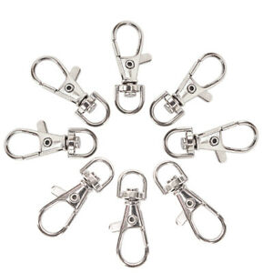 10PC-Silver-Swivel-Trigger-Clips-Snap-Lanyard-Hook-Bag-Key-Ring-Hooks-Gift-HF