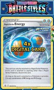 (Digital Card) 4x Rapid Strike Energy 140/163 Battle Styles PTCGO Sent Fast