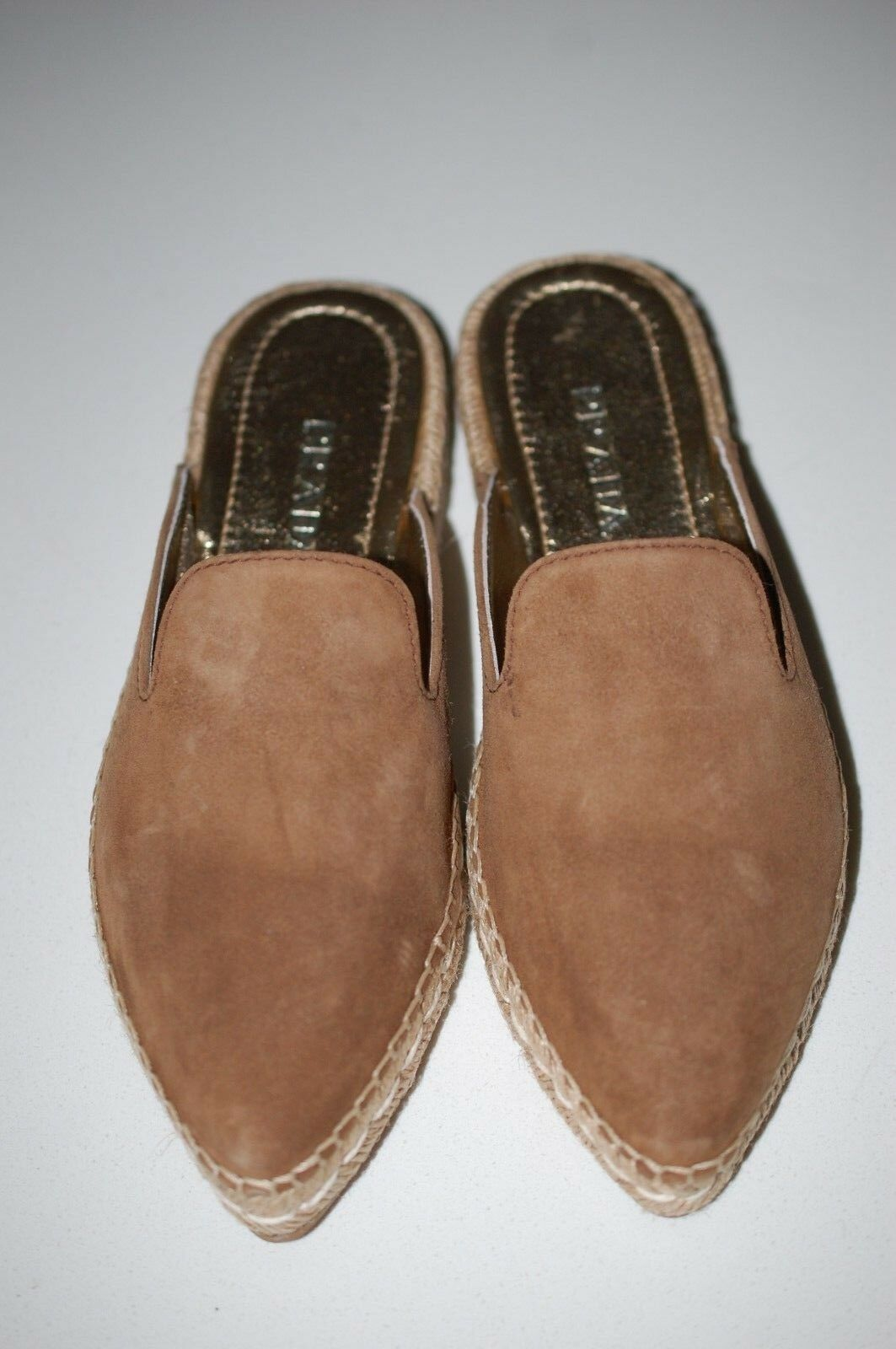 PRADA Tan Suede Espadrille Mule Point Slide Slipper Flat Sandal shoes 6 US 36 EU