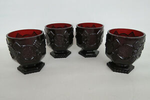 Avon-Cape-Cod-Ruby-Red-Glass-Set-of-4-Footed-Tumblers-Dessert-Cups-1024B