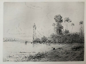 Hippolyte-Camille delpy strong water engraving etching the seine near vernon