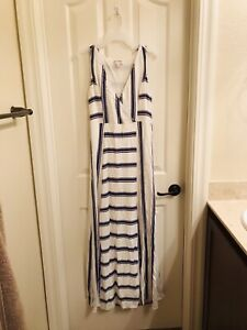 NWT Anthropologie Ella Moss Peyton Ribbed Sweater Striped Long Dress S