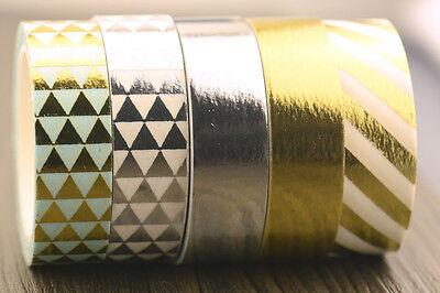 1 roll metallic gold silver diagonal craft scrapbooking Washi Tape (1.5cm x 10M)