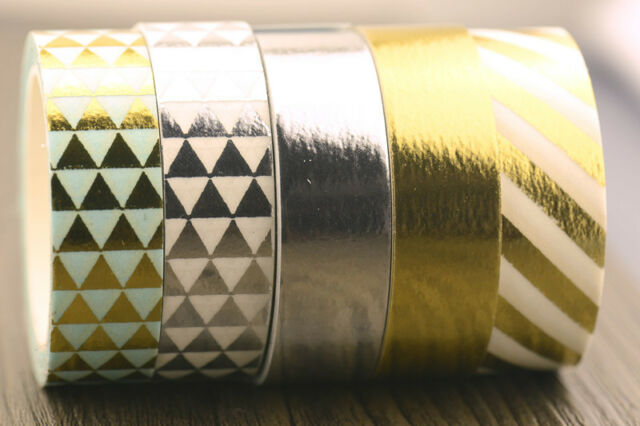 1 roll metallic gold silver diagonal craft scrapbooking Washi Tape (1.5cm x 10M)