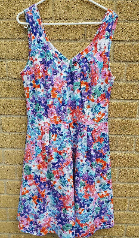 Women's Pink Floral Linen Blend Fit and Flare Sleeveless Summer Dress Size 10