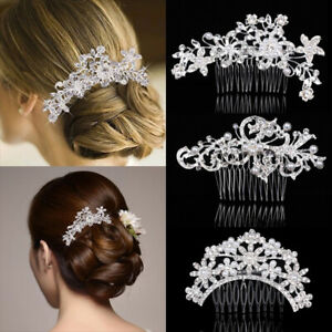 Womens Bridal's Hair Comb Pearl Crystal Headpiece Wedding Accessories Headwear