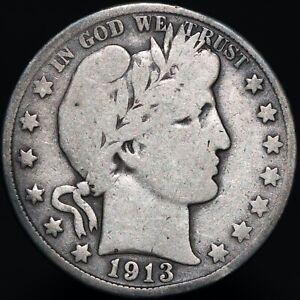 1913-D-U-S-A-Barber-Half-Dollar-Silver-Coins-KM-Coins
