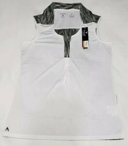 NEW-Antigua-Women-039-s-Sleeveless-Electra-Desert-Dry-Golf-Polo-White-Black-Size-M