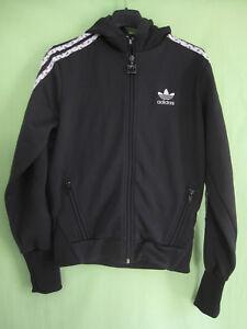 Détails sur Veste Adidas à capuche Originals Trefoil Jacket Noire Femme style vintage 38
