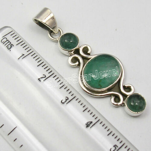 """925 Solid Silver Green Apatite 6.8 Ct Pendant 1.7/"""" Wholesale Handcrafted Jewelry"""