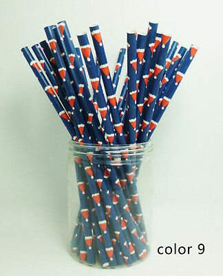 1 Pack 25 PCS Festival Pattern Paper Drinking Straw For Christmas Party Color 9