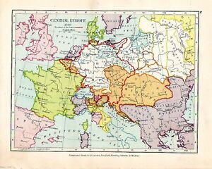 VICTORIAN MAP CENTRAL EUROPE BOUNDARY OF EMPIRE EBay - Victorian world map
