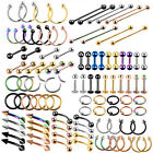 100PCS Surgical Steel Labret Lip Earrings Nose Eyebrow Nipple Rings 14G 16G Lots