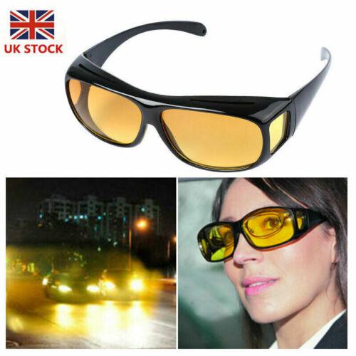 HD Night Vision Unisex Driving Sunglasses Nice Over Wrap Around Glasses Yellow