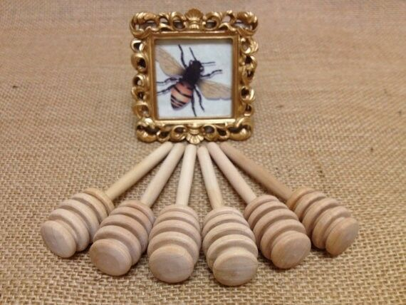 Wooden Honey Dippers,110qty Wedding honey favor mini honey spoon