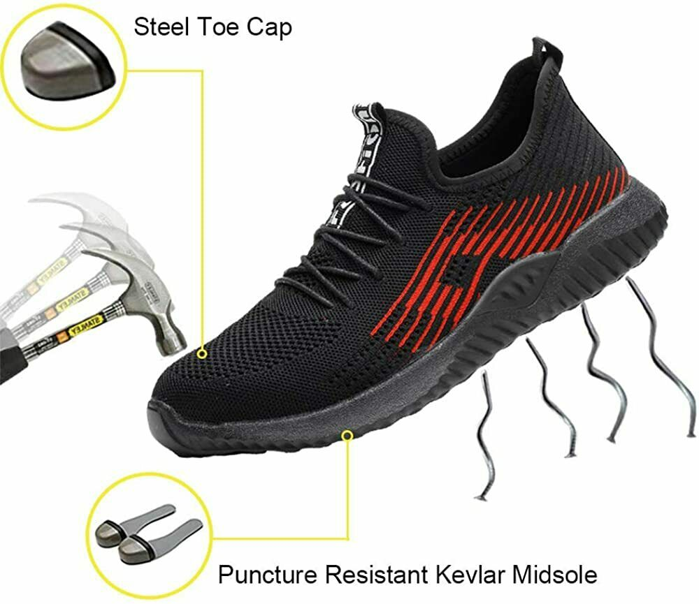 UK Men Safety Shoes Trainers Steel Toe Work Boots Sports Hiking Sneakers UK A1