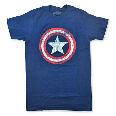 Captain America Distressed Logo Mens T-shirt Marvel Comics