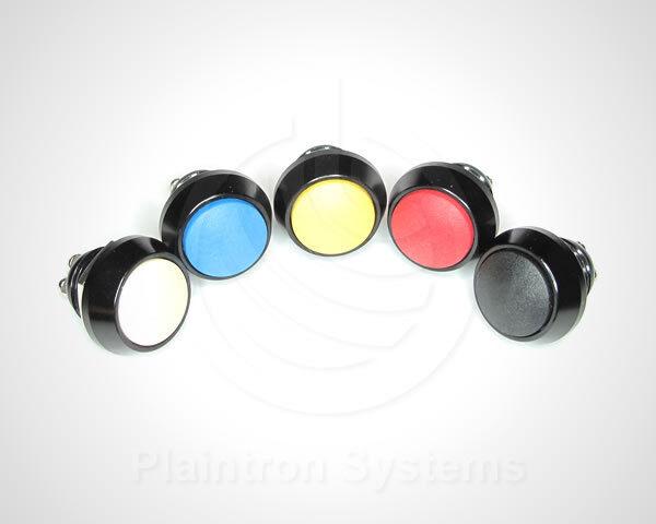 Metall-Taster, Schalter (Drucktaster) 1 Schließer schwarz 17,5/12mm, 5 Farben