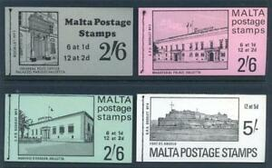 Malta-1970-1-set-4-stamp-booklets-selvedge-at-top-of-panes-mint-2017-08-04-11