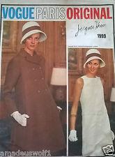 Vintage 60's VOGUE PARIS ORIGINAL 1999 JACQUES HEIM COAT & DRESS -Sewing Pattern