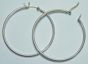 Image Is Loading 45mm 1 75 Inch Sterling Silver Hoop