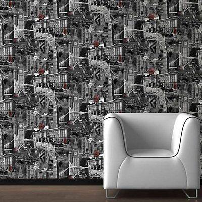 LONDON CITY SCENE BLACK WHITE RED MURIVA FEATURE DESIGNER WALLPAPER 102506 NEW