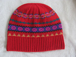 J-Crew-Fair-Isle-Beanie-Ski-Hat-Wool-Nordic-Poppy-Hazelnut-Red-One-Size-NWT