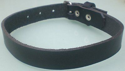 Black Leather Choker Necklace 20mm Hand Made Real Leather Goth Punk